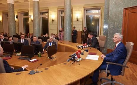 Jaunievēlētā Ministru prezidenta Krišjāņa Kariņa svinīgā pilnvaru nodošanas pasākums Ministru kabinetā.