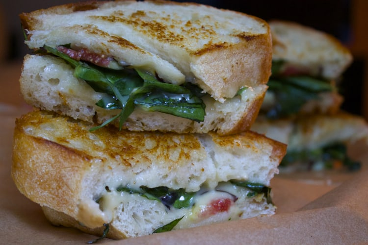 Dandelion Grilled Cheese with Fig & Brie | The Foodie Dietitian