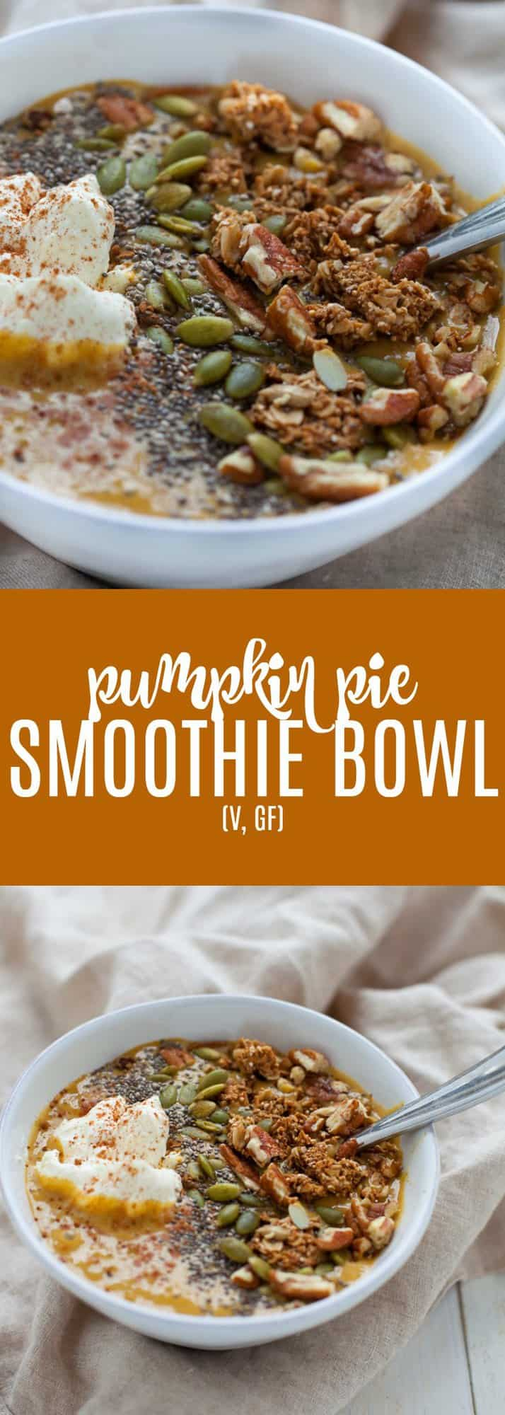 This Pumpkin Pie Smoothie Bowl is a feel-good bowl of nothing but pumpkin power. Perfect breakfast for the fall with only 4 ingredients and no sugar added! Vegan and gluten-free.