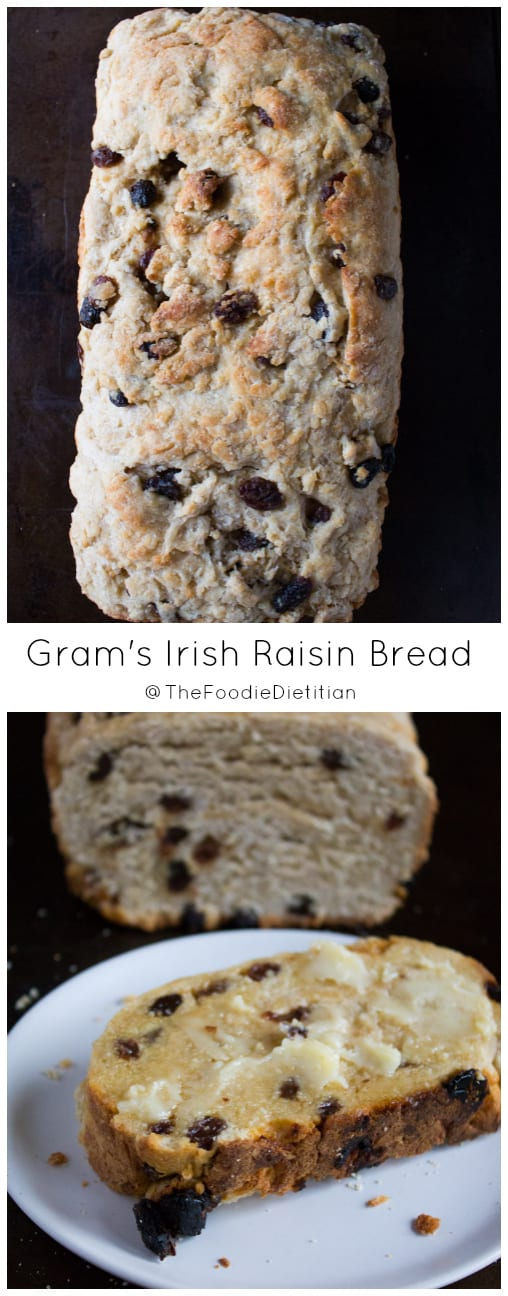 Gram's Irish Raisin Bread is a tradition that goes back 3 generations to my great-grandmother who was born in Ireland. Not your traditional raisin bread, this bread is hearty, but not super sweet. With a slab of butter, it's the perfect complement to a Thanksgiving or holiday meal. | @TheFoodieDietitian
