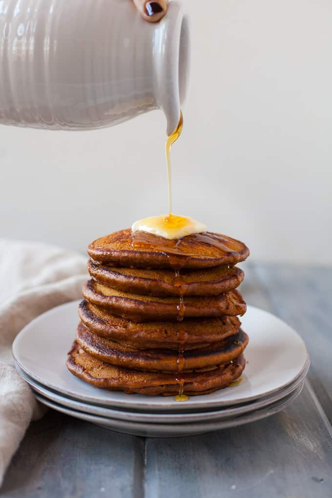 These healthy gingerbread pancakes are a delicious addition to a holiday brunch and perfect for a lazy weekend winter morning. Fluffy buttermilk pancakes made with whole-wheat flour and packed with warming spices like ginger, nutmeg, and cinnamon.