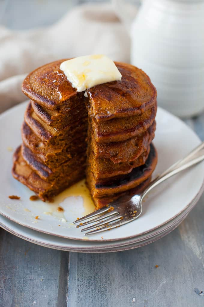 healthy gingerbread pancakes made with whole-wheat flour!