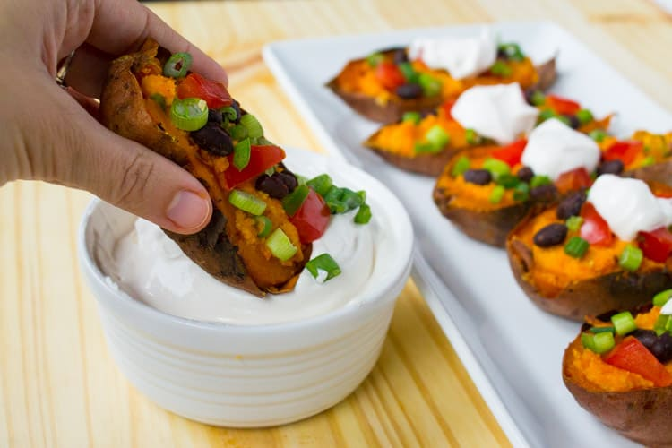 Vegan Sweet Potato Skins | @TheFoodieDietitian