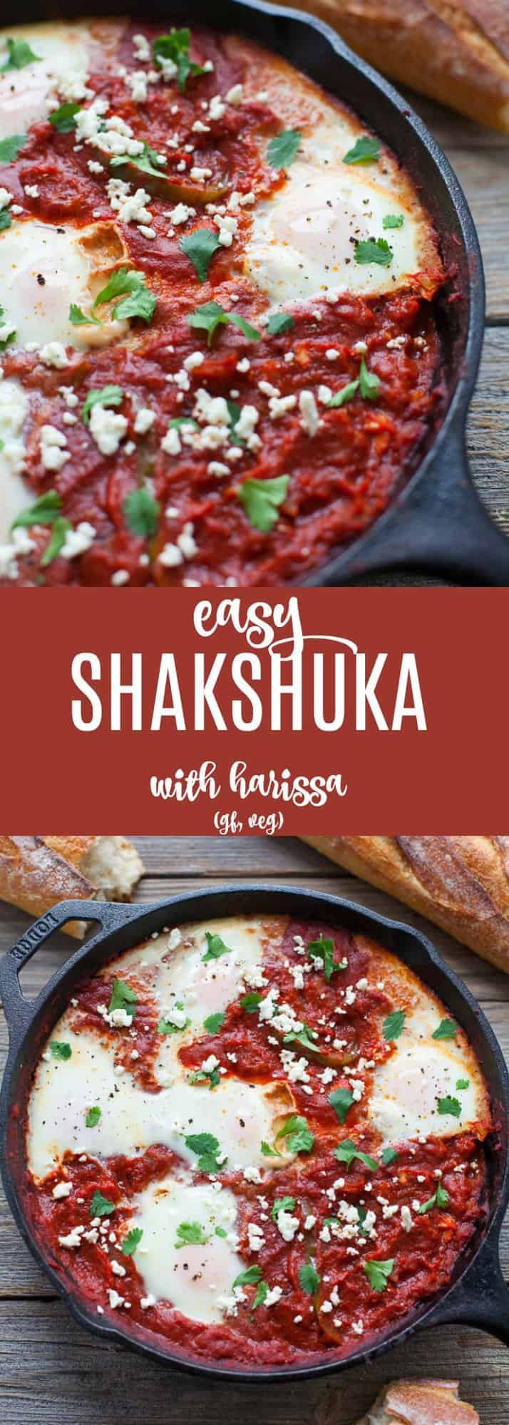 A traditional Middle Eastern dish with a North African twist, this easy shakshuka with harissa (eggs baked in a spicy tomato stew) is a delicious savory dish to put on your Sunday brunch menu!