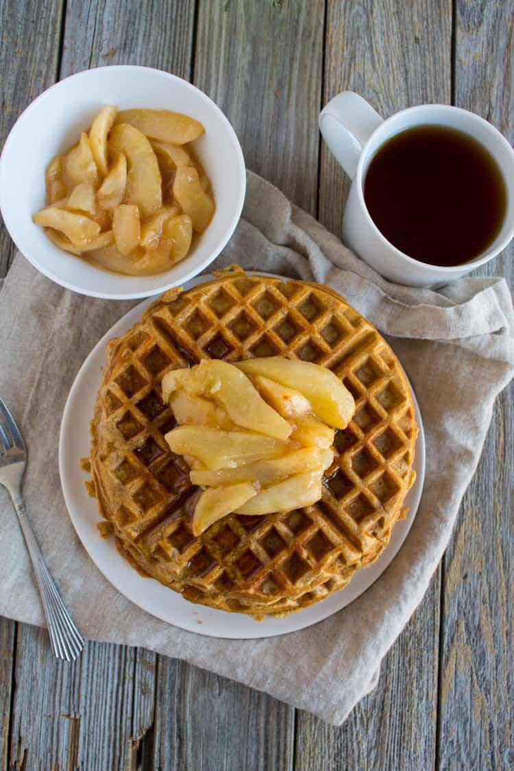 Chai Waffles with Sauteed Pears