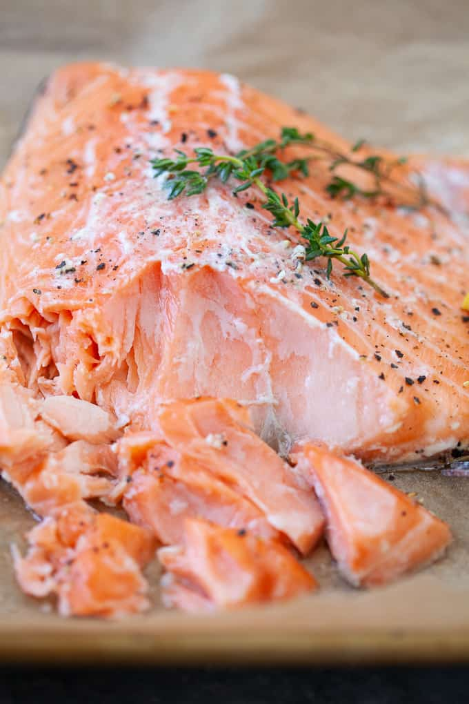 slow cooked salmon with lemon slice