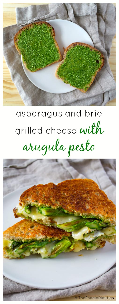 A grown-up grilled cheese for spring! Asparagus and Brie Grilled Cheese is finished off with an arugula pesto to seal the deal. | @TheFoodieDietitian