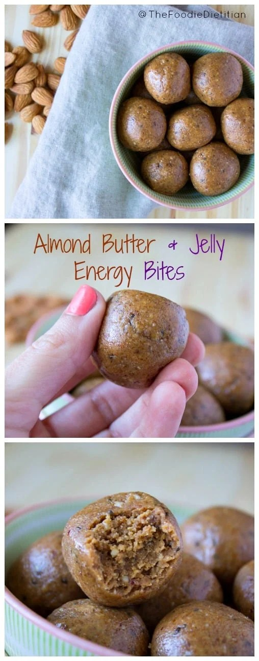 Almond butter and jelly energy bites packed with chia, hemp and flax seeds are the perfect energy-boosting snack to power you though the day. | @TheFoodieDietitian