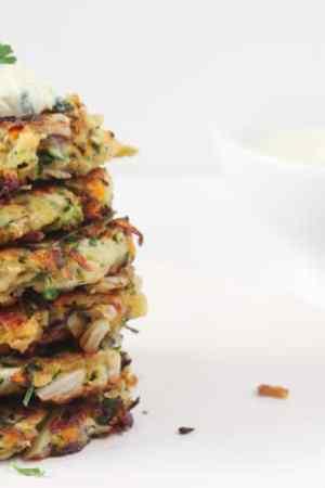 Zucchini Kohlrabi Spring Onion Fritters with Herb Yogurt Sauce | @karalydon