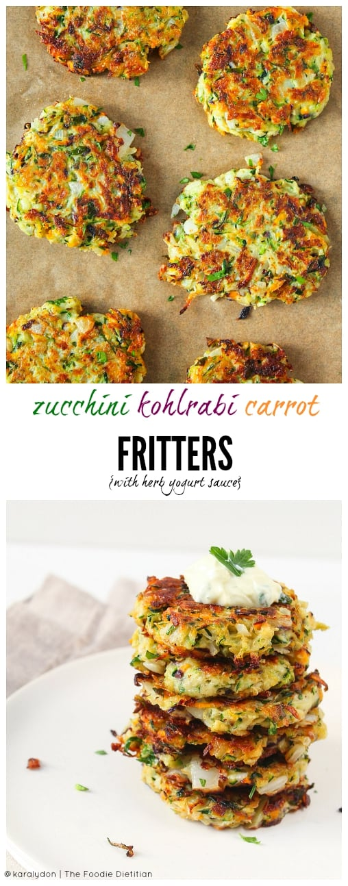 Use up all your CSA veggies with easy-to-make fritters. These zucchini kohlrabi carrot fritters with herb yogurt sauce make for a quick and delicious weeknight dinner. | @karalydon