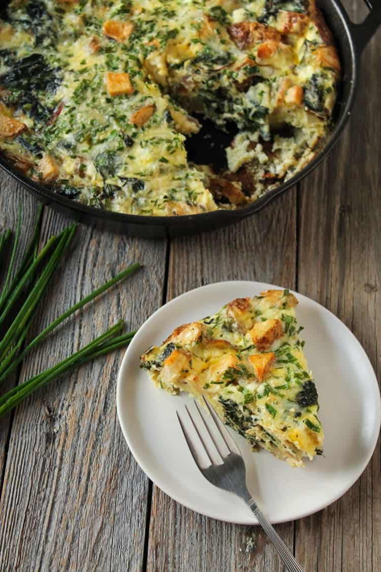 Throw all your leftover veggies into a frittata! Chard Potato Chive Frittata