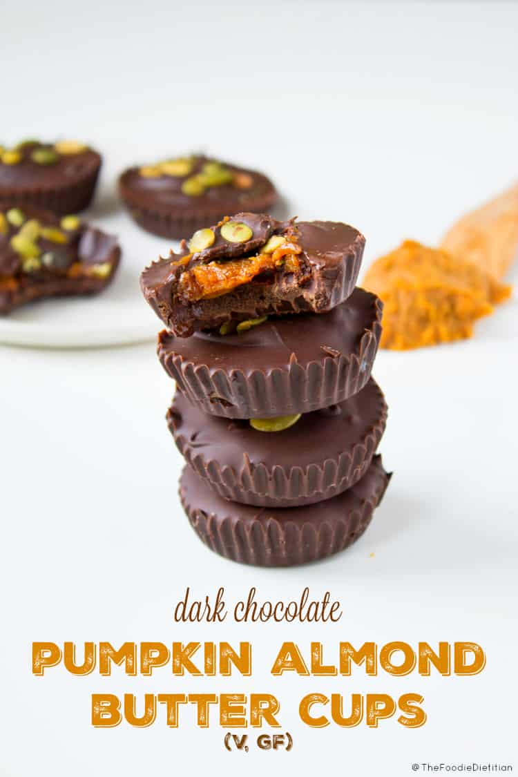 No tricks here, just a homemade healthier treat for Halloween - dark chocolate pumpkin almond butter cups are sweet, salty, creamy, and sure to satisfy any sweet tooth.