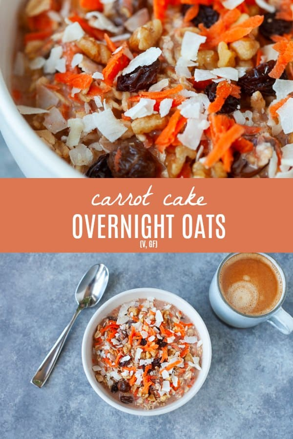 A fun, easy and festive breakfast for Easter morning (or any day of the year!). These carrot cake overnight oatsare sweet, creamy and happen to be dairy-free! #overnightoats #carrotcake
