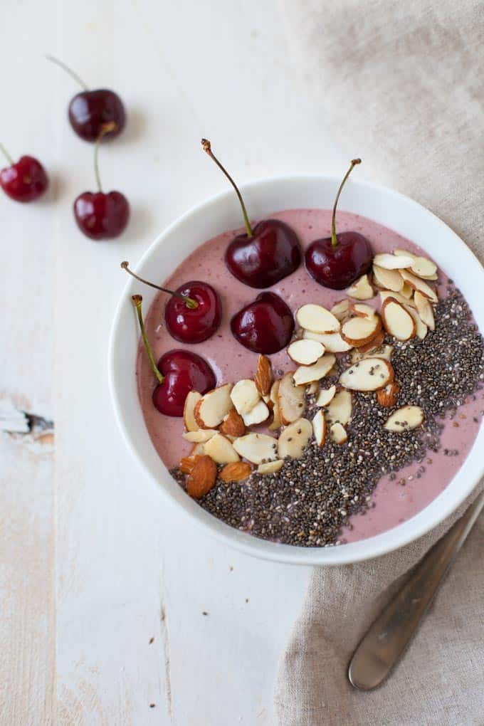 This cherry cheesecake smoothie bowl may taste indulgent but it's a protein-packed and healthy way to start your morning.