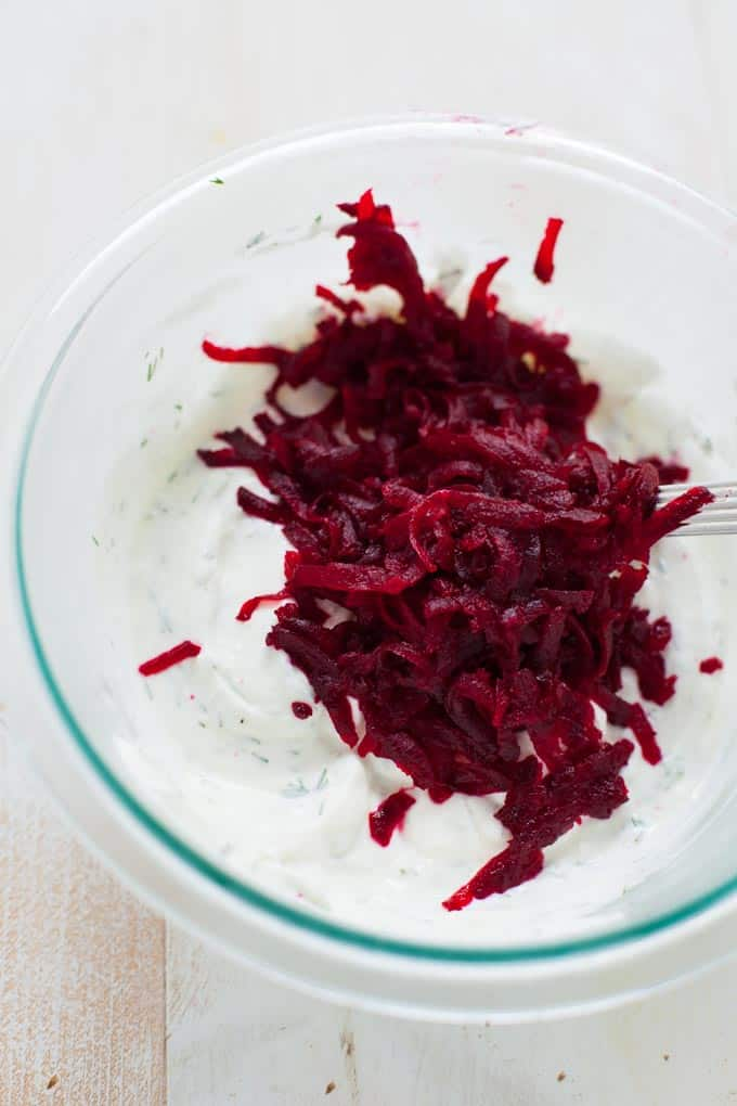 beet tzatziki with greek yogurt