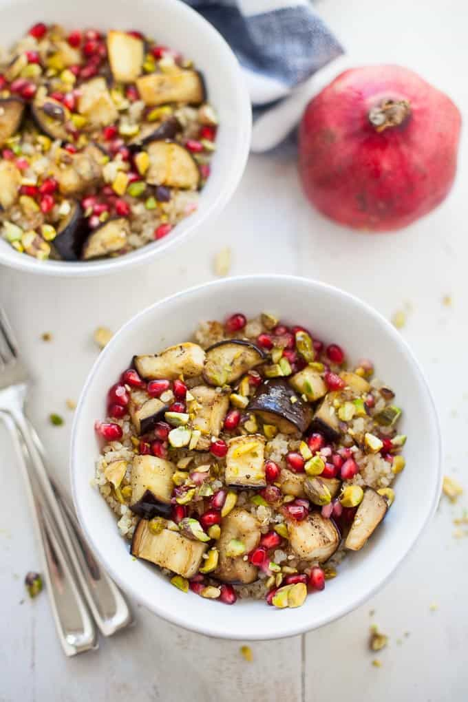 A flavorful, lightened up holiday side dish, this Middle Eastern spiced quinoa salad with eggplant and pomegranate is vegan gluten-free and sure to be enjoyed by all of your holiday guests!