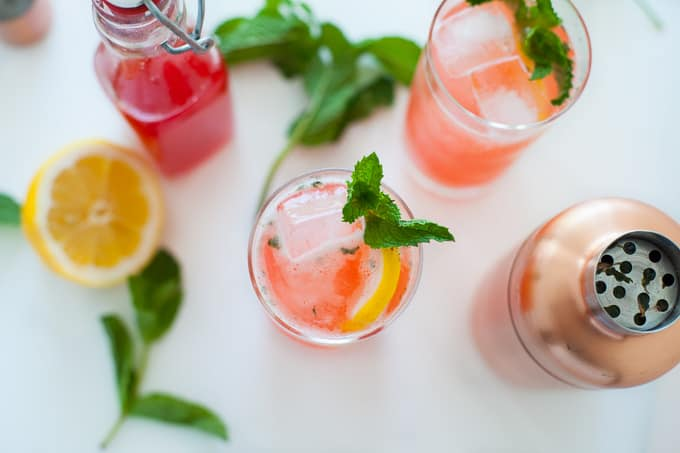 Strawberry Rhubarb Seasonal Gin Fizz