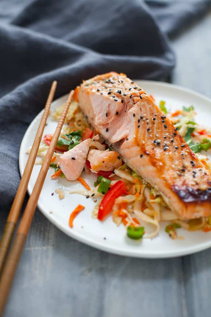 Green Tea Marinated Salmon with Asian Slaw - The Foodie Dietitian