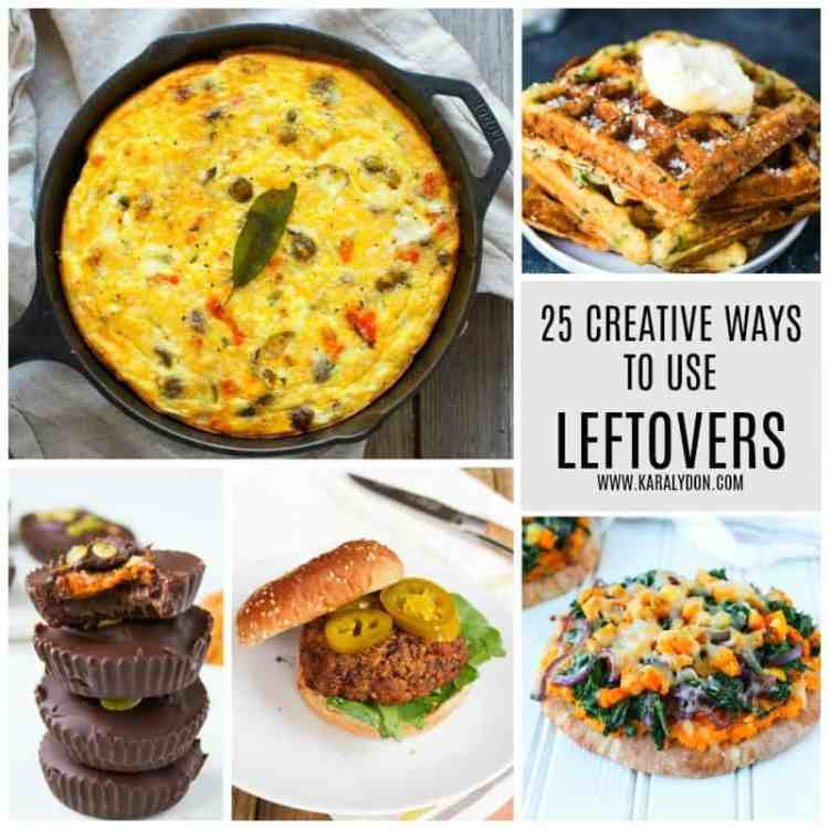 Because who wants to cook a meal from scratch every night?! Not me! I love eating leftovers but also finding creative ways to use leftovers so I don't bored with the same meal night after night. Enjoy these 25 creative ways to use leftovers and say goodbye to food waste!