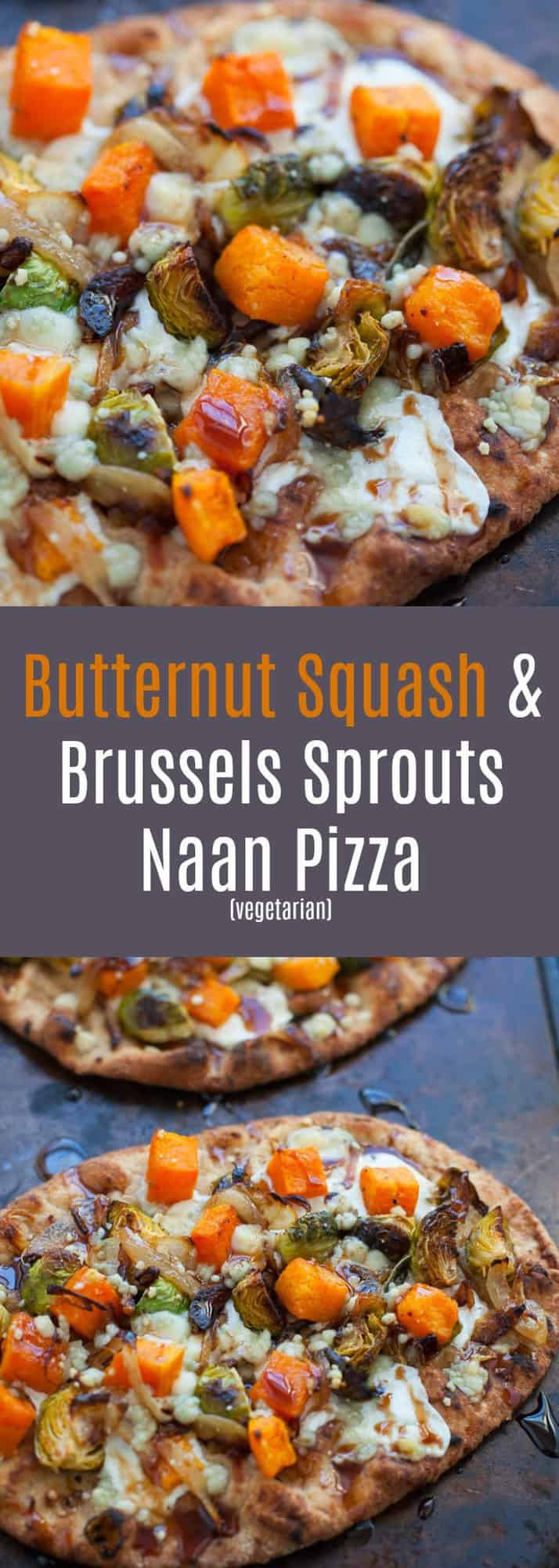 Looking for a quick and easy way to make pizza at home? Try my butternut squash and Brussels sprouts naan pizza! Perfect for a veggie lovers pizza night.