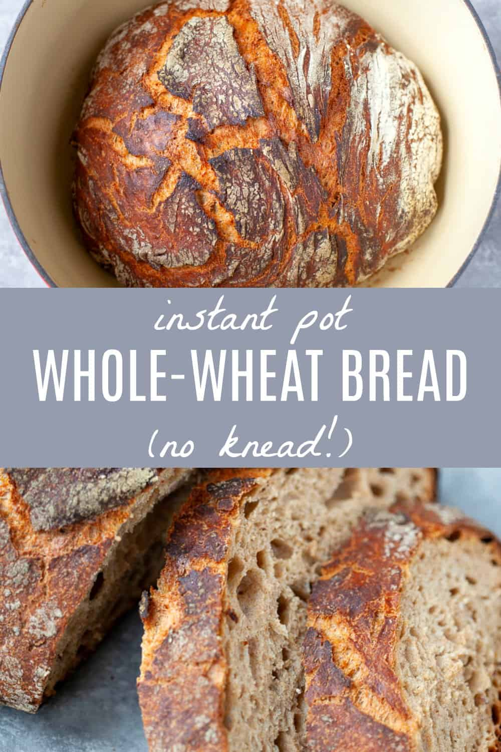 This Instant Pot Whole Wheat Bread is crispy on the outside, chewy on the inside, with just the right amount of nuttiness. Proofing in the Instant Pot saves you hours and hours of time and there's no kneading involved! #instantpot #bread #noknead
