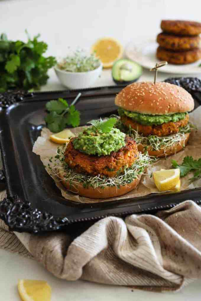 desi pumpkin black bean burger