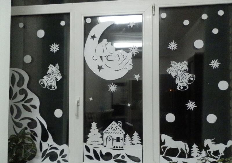 Украшения на окна к новому году картинки