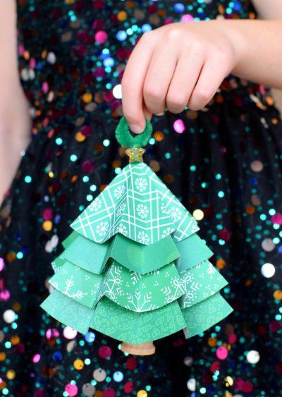 Tělor strom z papíru & # 8212; Schémata a šablony k vytvoření vánočního stromu s vlastní fází rukou 23