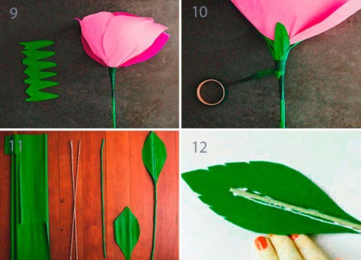 Paper Flowers & # 8212; Mga scheme at mga template para sa paglikha ng mga kulay ng papel na yugto 137.