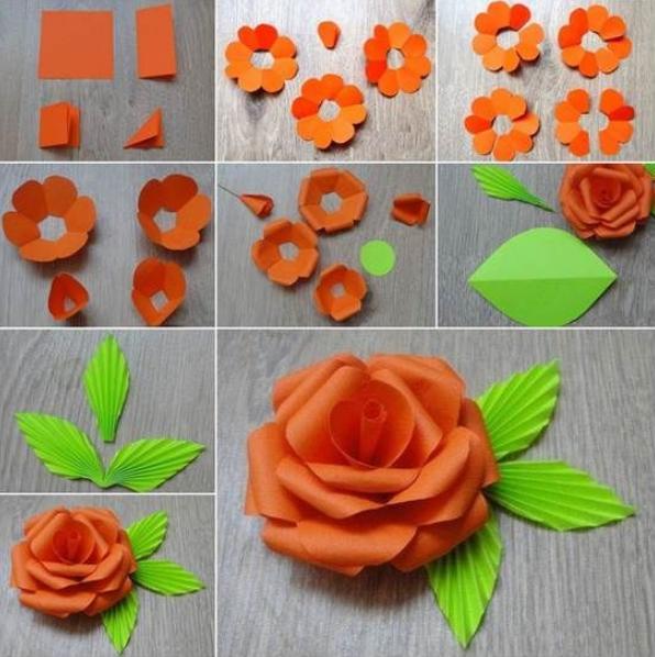 Paper Flowers & # 8212; Mga scheme at mga template para sa paglikha ng mga kulay ng papel na yugto ng 30.