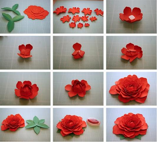 Paper Flowers & # 8212; Mga scheme at mga template para sa paglikha ng mga kulay ng papel na yugto 10.