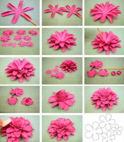 Paper Flowers & # 8212; Mga scheme at mga template para sa paglikha ng mga kulay ng papel 11.