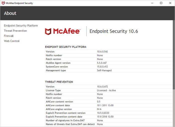 McAfee Endpoint Security 10.6.0.542