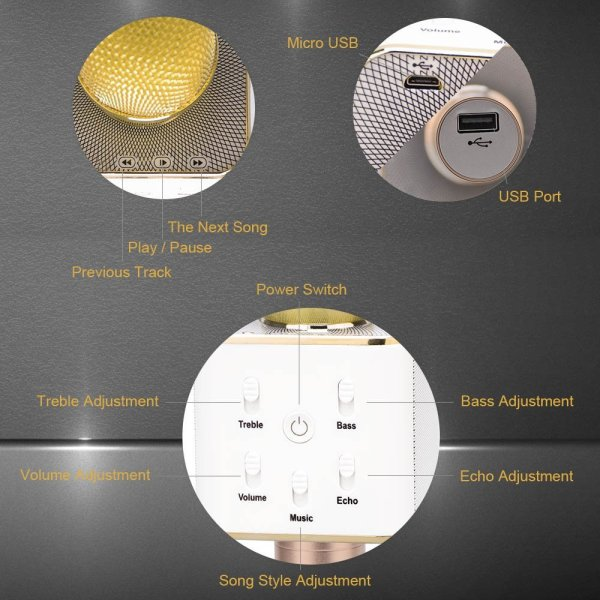 Wireless Karaoke Microphone 3-in-1 Gold Microphone Portable Built-in Bluetooth Speaker Machine for iPhone Apple Android PC and Smartphone-156