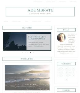 Screenshot of Adumbrate, a minimal, content-centered WordPress theme.