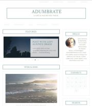 Screenshot of Adumbrate, a minimal, content-centered WordPress theme.