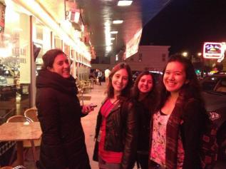Dinner with the girls! L-R, Francesa, Natalia, Debora and I