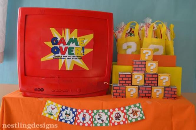 Super Mario Brothers Birthday Party Planning Ideas Decorations Cake Idea
