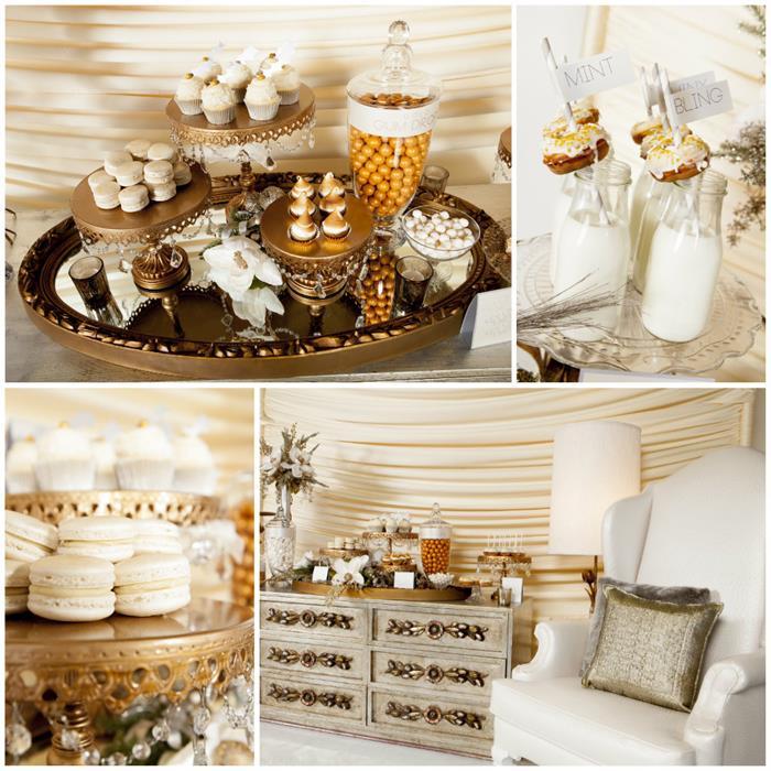 Karas Party Ideas Metallic Holiday Dessert Table With