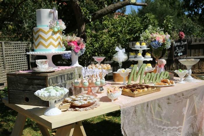 Karas Party Ideas Vintage Rustic Garden Themed Birthday