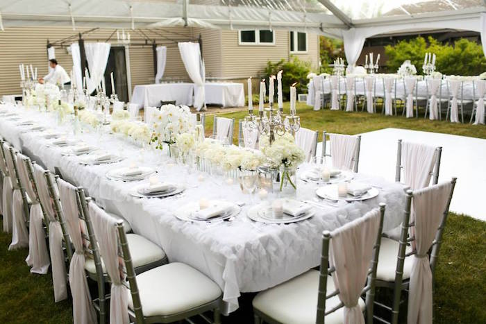 Karas Party Ideas Dining Tables From An Elegant White