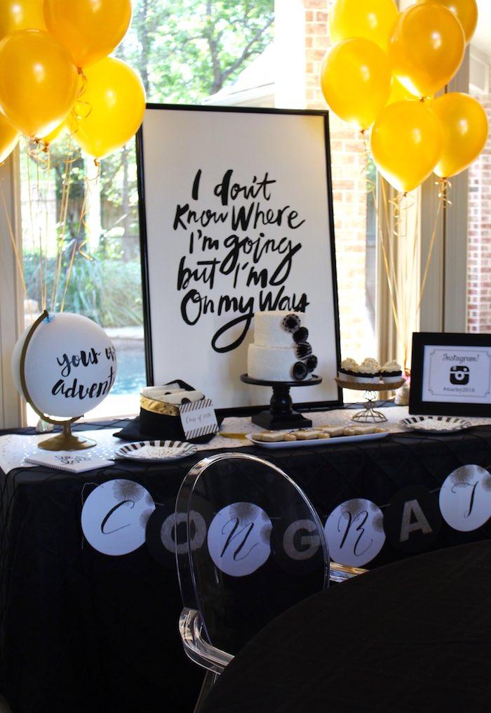 black white gold graduation party