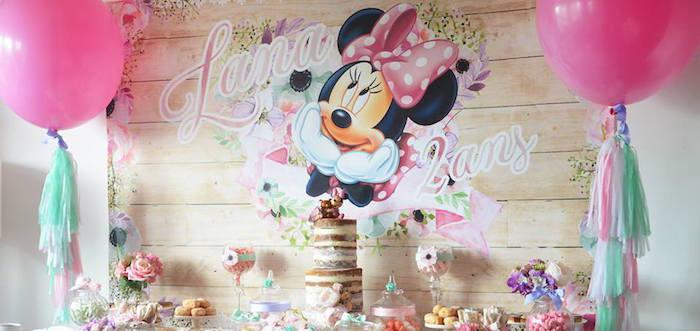 Kara S Party Ideas Boho Chic Minnie Mouse Birthday Party Kara S Party Ideas