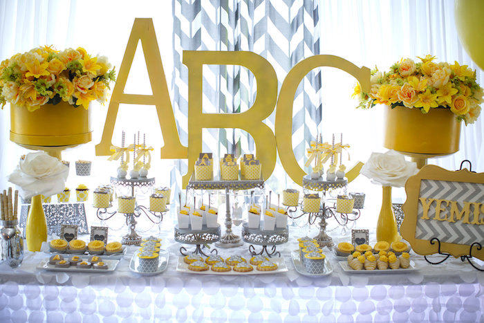 Karas Party Ideas Yellow Amp Gray Alphabet Baby Shower