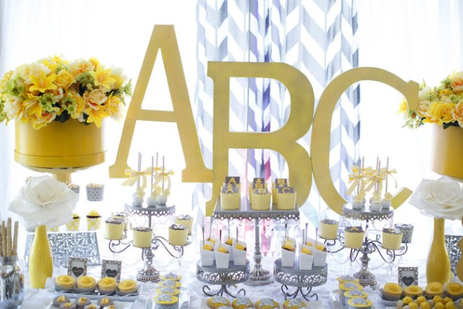 Gray Yellow Baby Shower Decorations With Flowers