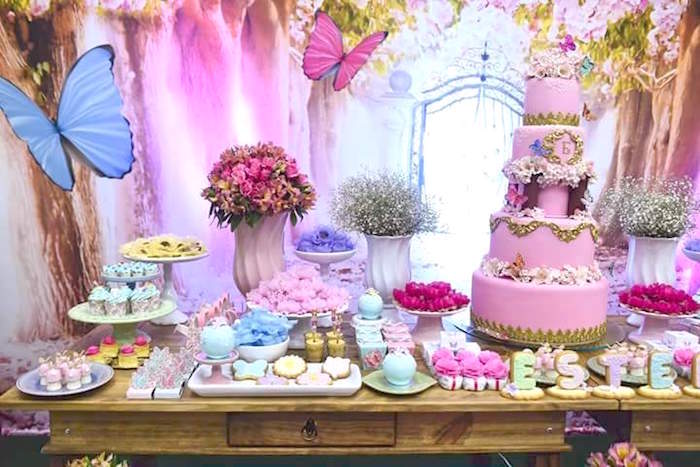 Karas Party Ideas Pink Butterfly Garden Birthday Party