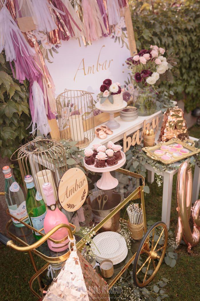 Karas Party Ideas Burgundy Blush Amp Gold Boho Baby Shower