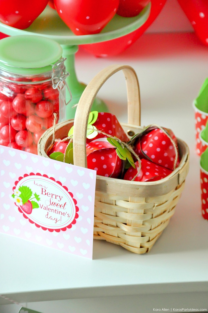 Karas Party Ideas Berry Sweet Strawberry Valentines Day