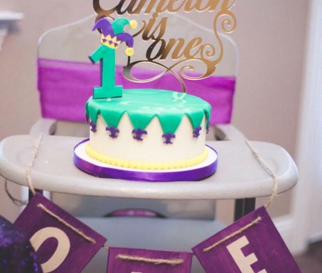 Mardi Gras Smash Cake Highchair Banner From A Mardi Gras Themed Birthday Party On Karas