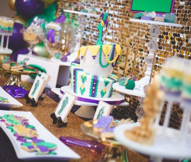 Mardi Gras Dessert Tablescape From A Mardi Gras Themed Birthday Party On Karas Party Ideas